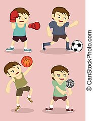 Young Boys Playing Sports Vector Cartoon Illustration