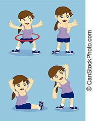 Warm Up and Stretching Exercises Vector Illustration
