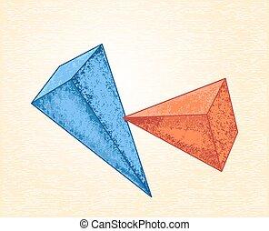 piramides, ligado, Um, lona, fundo,