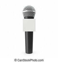 Microphone with blank space box isolated on white background...