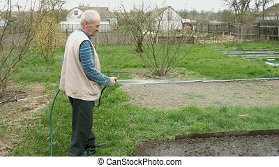 Senior elderly man waters a bed vegetable garden - Senior...