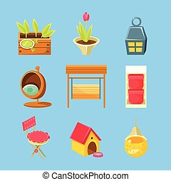 Garden Stuff Set Of Flat Isolated Vector Simplified Bright...