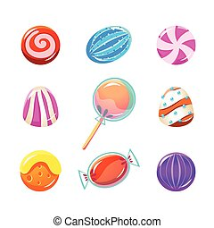 Different Candy Collection Of Flat Brightly Coloured Vector...