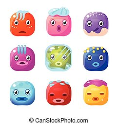 Square Fantastic Creature Face Emoticon Set