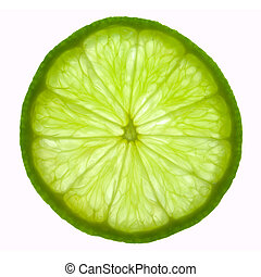 Slice of lime, backlit and isolated on white.