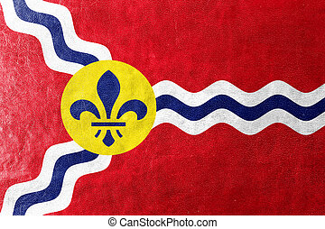 Flag of St Louis, Missouri, painted on leather texture