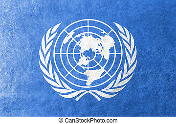 Flag of United Nations, painted on leather texture