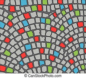 cobbles area - Colorful cobbles, area Vector illustration