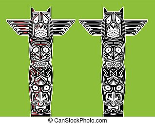 indian totem carved owl - illustration of indian totem...