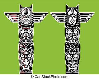 indian totem carved owl - illustration of indian totem...