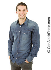 happy casual man - young happy casual man portrait, isolated...