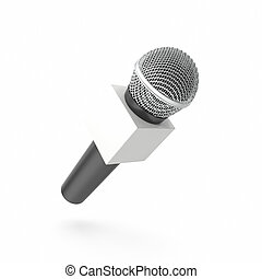 Microphone with blank space box isolated on white...