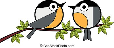 Two tits sitting on a tree branch vector illustration on...