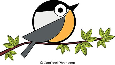 one tit sitting on a tree branch vector illustration on...