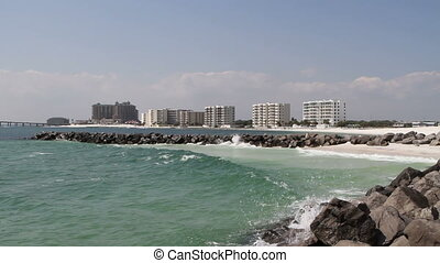 Jetty At Destin East Pass, Florida - Waves pound and splash...