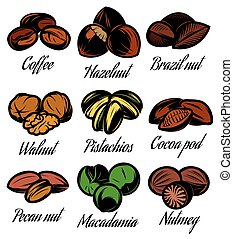 set of colored symbols patterns different seeds, nuts,...