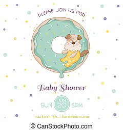 Baby Shower or Arrival Card - Baby Dog - in vector