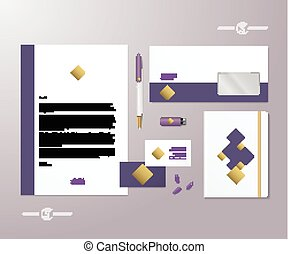 Creative Geometry Purple and Gold Realistic Vector Stationary Set with Soft Shadows. Good as Template or Mock Up for Business Identity.