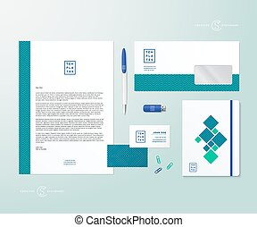 Creative Geometry Green and Blue Realistic Vector Stationary...