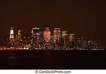 Lower Manhattan skyline at night, from Hoboken - New York...