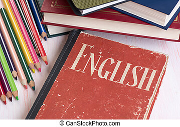 learn English concept. Book and education supplies