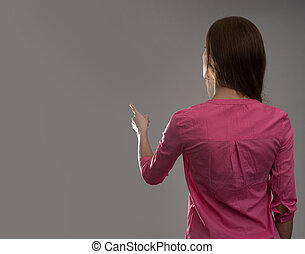 woman back view - young woman back view Dark gray background...