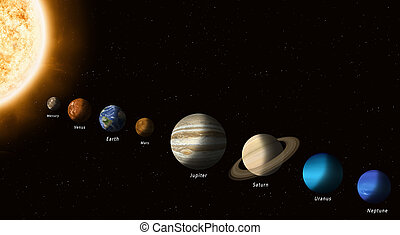 Sun And Solar System Planets - solar system planets with a...