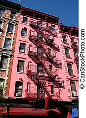 Pink building in SoHo, NYC - Pink building with metallic...