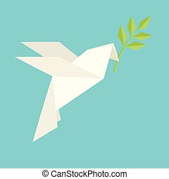 Origami dove flies and carries a twig