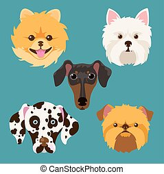 muzzle different breeds of dogsDog characters Cartoon vector...