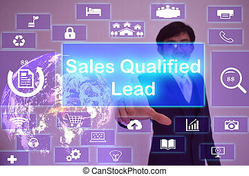 Sales Qualified Lead SQL concept presented by businessman...