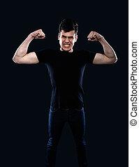 jovem, homem, mostrando, seu, músculos,