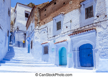 Blue medina - Stairway in the blue medina of Chefchaouen,...