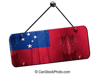 Samoa flag, 3D rendering, vintage grunge hanging sign -...