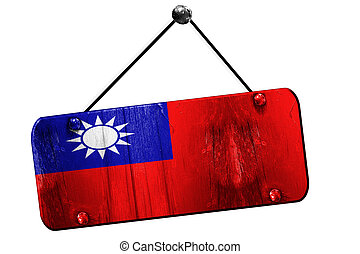 Republic of china flag, 3D rendering, vintage grunge hanging...