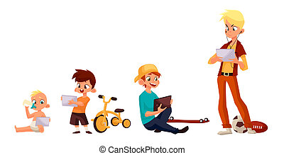 Children play in the smartphone or tablet - Children boy of...