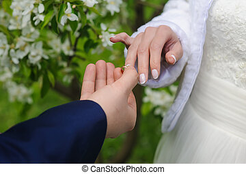 Groom gives an engagement ring to his bride - Groom and...