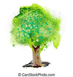 painting tree - white background with painting tree