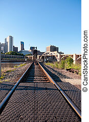 Railroad into Downtown Saint Paul - robert street multiple...