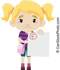 Little Girl showing her Failed Exam - Vector Illustration of...