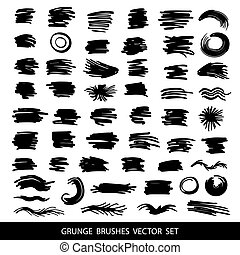 Big set of grunge brush strokes.
