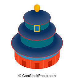 Temple of Heaven icon, isometric 3d style