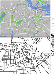 Amsterdam - Illustration city map of Amsterdam in vector