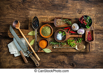 Colorful spices on wooden table - Various colorful spices on...