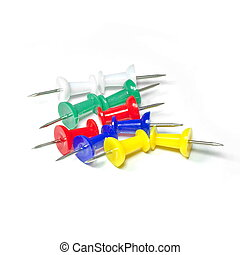 Set of multicolor push pins isolated on white background