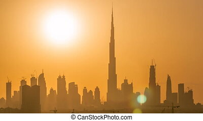 Sunset with skyline of Downtown Dubai in the evening...