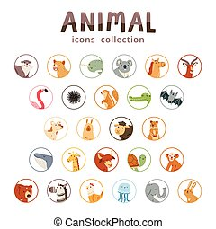 Animal icons collection, set of 26 various animals isolated...