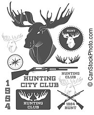 Set of vintage outdoors with a deer labels, badges and design elements. Vector