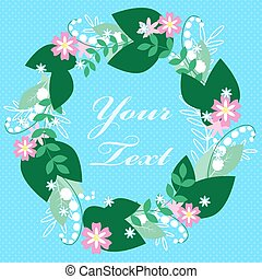 Colorful Floral Greeting card. International Happy Mothers Day with Bunch of Spring Flowers. Womens Day. Holiday background. Beautiful bouquet. Trendy Design Template. Vector