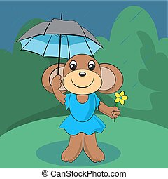 Cute monkey standing on green meadow with a flower and an umbrella in the rain. Vector